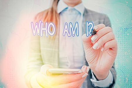 Text sign showing Who Am I Question. Business photo text asking about self identity or personal purpose in life