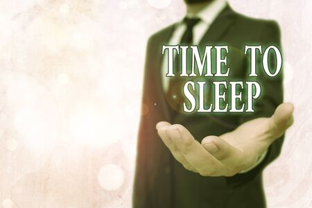 Conceptual hand writing showing Time To Sleep. Concept meaning a natural period of slumber or to be in state of inactivity