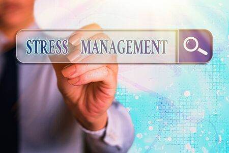 Word writing text Stress Management. Business photo showcasing method of limiting stress and its effects by learning ways