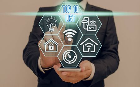 Writing note showing Top 10 List. Business concept for the ten most important or successful items in a particular list