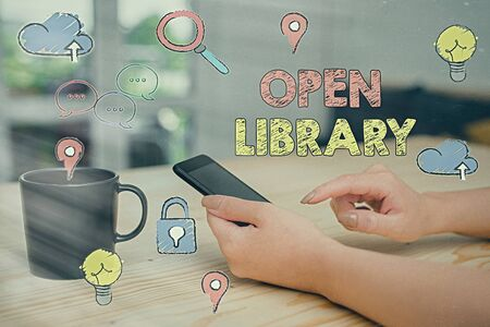 Text sign showing Open Library. Business photo showcasing online access to many public domain and outofprint books 写真素材