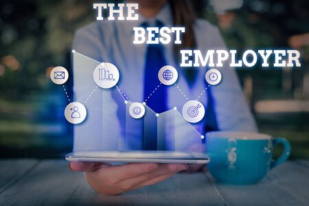 Conceptual hand writing showing The Best Employer. Concept meaning created workplace showing feel heard and empowered Stock Photo