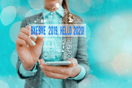 Word writing text Bye Bye 2020 Hello 2020. Business photo showcasing saying goodbye to last year and welcoming another one