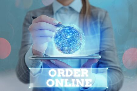 Text sign showing Order Online. Business photo text activity of buying products or services over the Internet 版權商用圖片