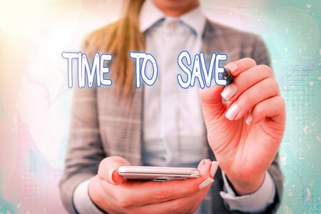 Text sign showing Time To Save. Business photo text to do something more efficiently that less time is required