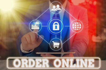 Word writing text Order Online. Business photo showcasing activity of buying products or services over the Internet