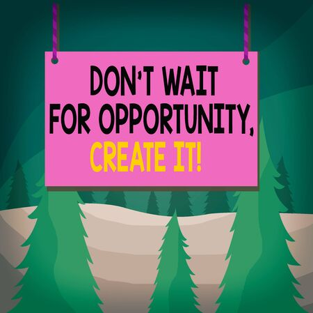 Word writing text Dont Wait For Opportunity Create It. Business photo showcasing work hard yourself and begin this moment Wooden board wood rectangle shape empty frame fixed colorful striped string Standard-Bild