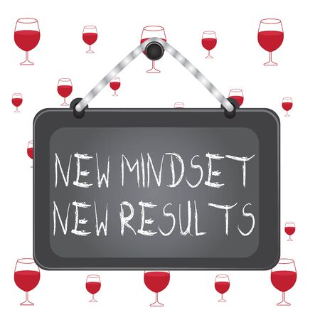 Text sign showing New Mindset New Results. Business photo showcasing obstacles are opportunities to reach achievement Board fixed nail frame string striped colored background rectangle panel