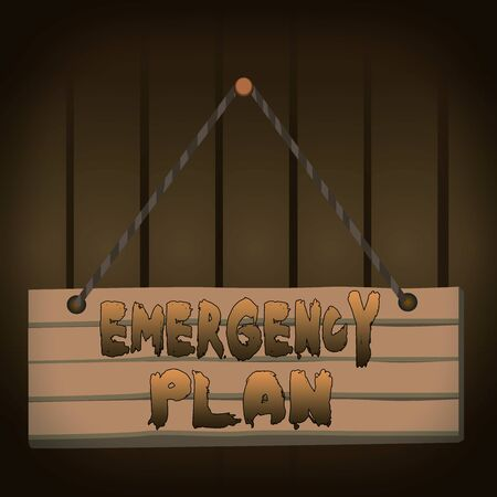 Writing note showing Emergency Plan. Business concept for procedures for handling sudden or unexpected situations Wood plank nail pin string board colorful background wooden panel fixed