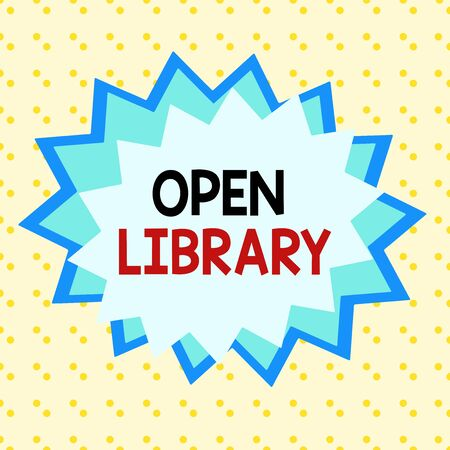 Writing note showing Open Library. Business concept for online access to many public domain and outofprint books Asymmetrical uneven shaped pattern object multicolour design