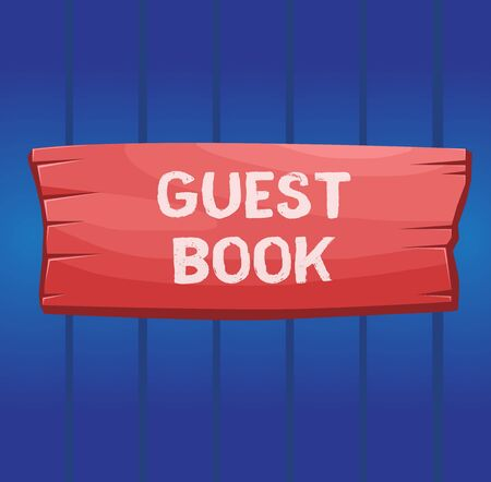 Writing note showing Guest Book. Business concept for electronic means for a visitor to acknowledge a visit to a site Wooden board rectangle shaped wood attached color background Standard-Bild - 143822942
