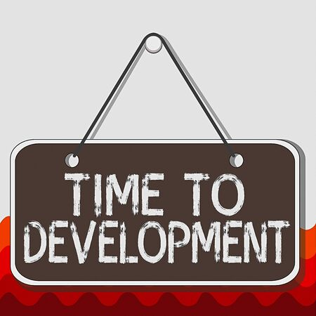 Conceptual hand writing showing Time To Development. Concept meaning a length of time during which a company grows or develop Memo reminder empty board attached background rectangle Фото со стока