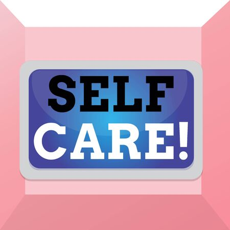 Conceptual hand writing showing Self Care. Concept meaning practice of taking action preserve or improve ones own health Board rectangle white frame empty fixed color surface plank Standard-Bild