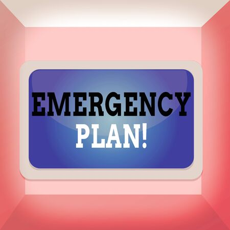 Conceptual hand writing showing Emergency Plan. Concept meaning actions developed to mitigate damage of potential events Board rectangle white frame empty fixed color surface plank