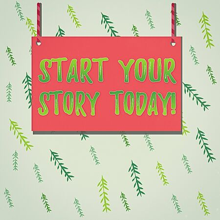 Handwriting text Start Your Story Today. Conceptual photo work hard on yourself and begin from this moment Wooden board wood rectangle shape empty frame fixed colorful striped string