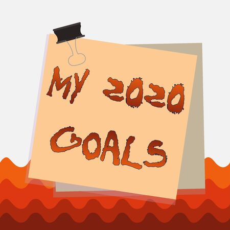 Conceptual hand writing showing My 2020 Goals. Concept meaning setting up demonstratingal goals or plans for the current year Paper stuck binder clip colorful background reminder memo