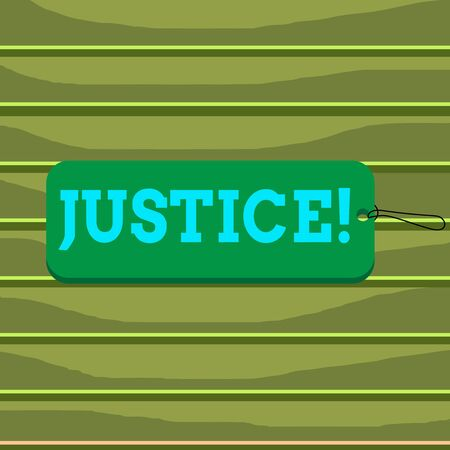 Conceptual hand writing showing Justice. Concept meaning impartial adjustment of conflicting claims or assignments Label tag badge rectangle shaped string colorful background 版權商用圖片