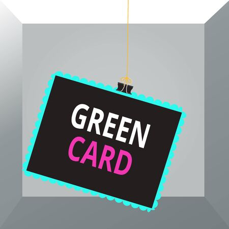 Conceptual hand writing showing Green Card. Concept meaning permit allowing a foreign national to live permanently in the US Stamp stuck binder clip square color frame rounded tip Foto de archivo
