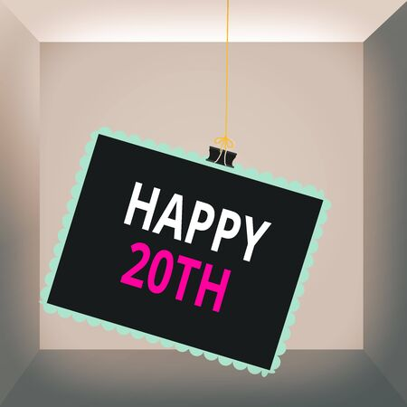 Conceptual hand writing showing Happy 20Th. Concept meaning a joyful occasion for special event to mark the 20th year Stamp stuck binder clip square color frame rounded tip