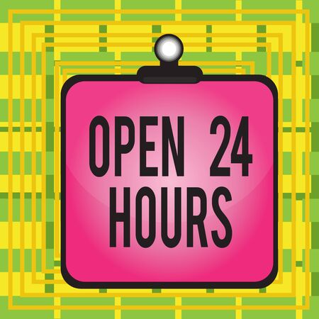 Text sign showing Open 24 Hours. Business photo showcasing available all day and all night without closing or stopping Clipboard colorful background spring clip stuck bind empty plank frame 版權商用圖片
