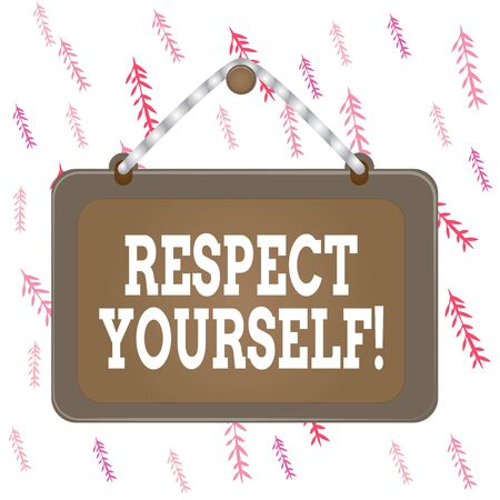 Handwriting text writing Respect Yourself. Conceptual photo believing that you good and worthy being treated well Board fixed nail frame string striped colored background rectangle panel