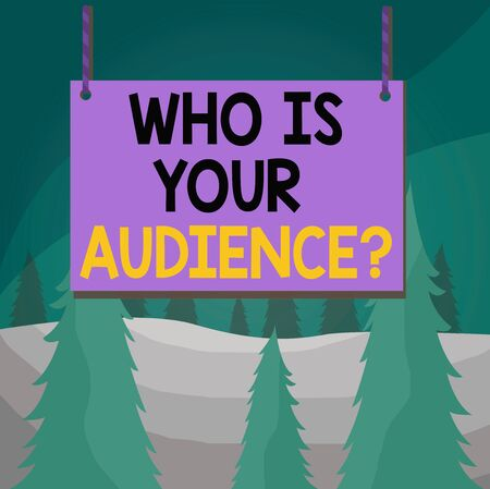 Word writing text Who Is Your Audience Question. Business photo showcasing who is watching or listening to it Wooden board wood rectangle shape empty frame fixed colorful striped string