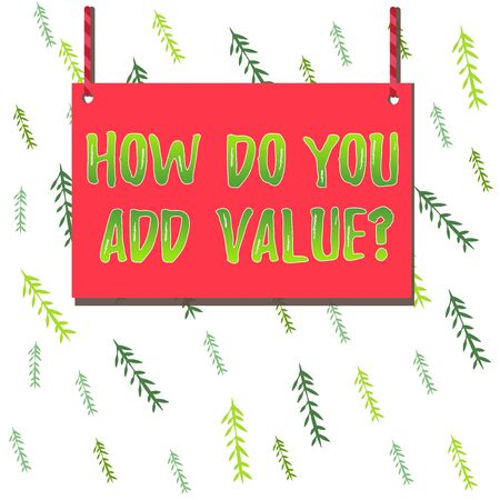 Handwriting text How Do You Add Value Question. Conceptual photo improve work undertaking production process Wooden board wood rectangle shape empty frame fixed colorful striped string 版權商用圖片