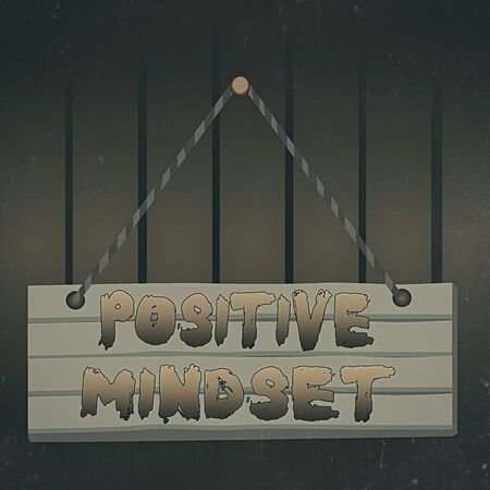 Writing note showing Positive Mindset. Business concept for mental attitude in wich you expect favorable results Wood plank nail pin string board colorful background wooden panel fixed Standard-Bild
