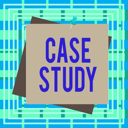 Text sign showing Case Study. Business photo text man and a specific research design for examining a problem Reminder color background thumbtack tack memo attached office pin square