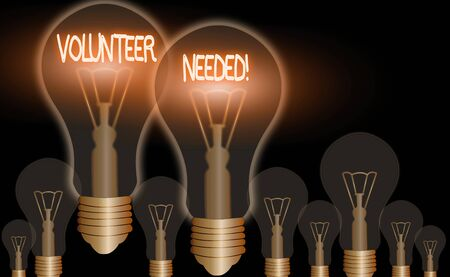 Word writing text Volunteer Needed. Business photo showcasing need work for organization without being paid
