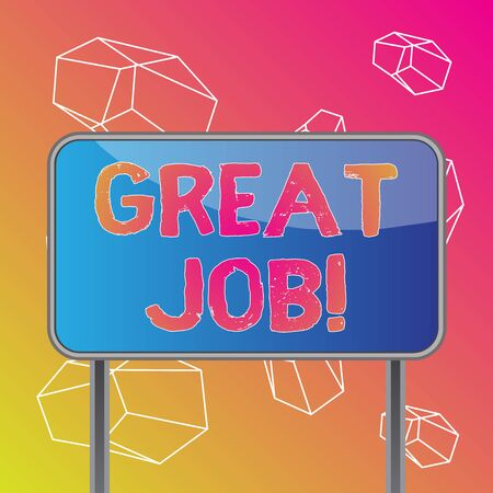 Word writing text Great Job. Business photo showcasing sed for telling someone that they have done something well Board ground metallic pole empty panel plank colorful backgound attached 版權商用圖片