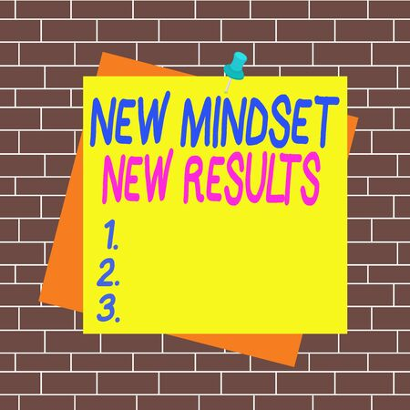 Text sign showing New Mindset New Results. Business photo showcasing obstacles are opportunities to reach achievement Reminder color background thumbtack tack memo attached office pin square