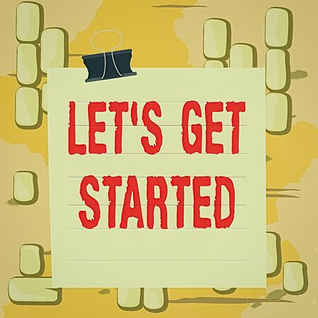 Word writing text Lets Get Started. Business photo showcasing to begin doing or working on something you had started Paper lines binder clip cardboard blank square notebook color background