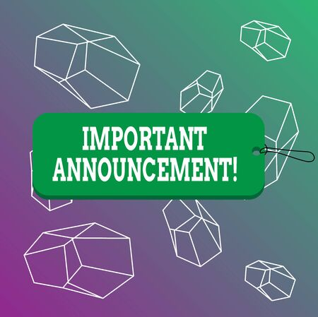 Word writing text Important Announcement. Business photo showcasing spoken statement that tells showing about something Label tag badge rectangle shaped empty space string colorful background