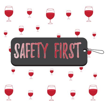 Text sign showing Safety First. Business photo text used to say that the most important thing is to be safe Label tag badge rectangle shaped empty space string colorful background 版權商用圖片