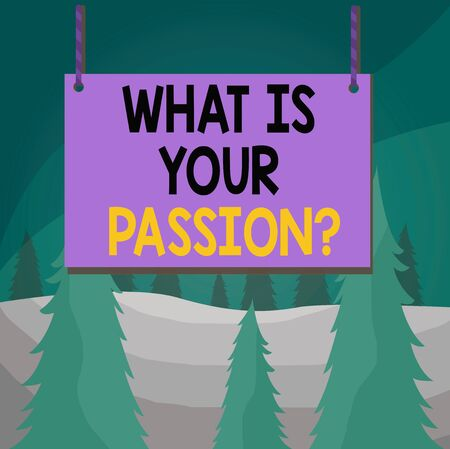 Word writing text What Is Your Passion Question. Business photo showcasing asking about his strong and barely controllable emotion Wooden board wood rectangle shape empty frame fixed colorful striped string 版權商用圖片
