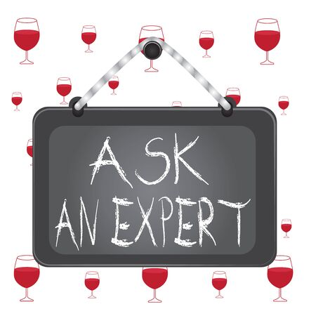 Text sign showing Ask An Expert. Business photo showcasing consult someone who has skill about something or knowledgeable Board fixed nail frame string striped colored background rectangle panel