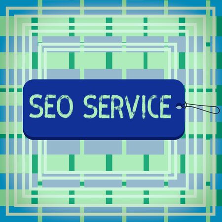 Text sign showing Seo Service. Business photo showcasing techniques and procedures to increase the website visibility Label tag badge rectangle shaped empty space string colorful background