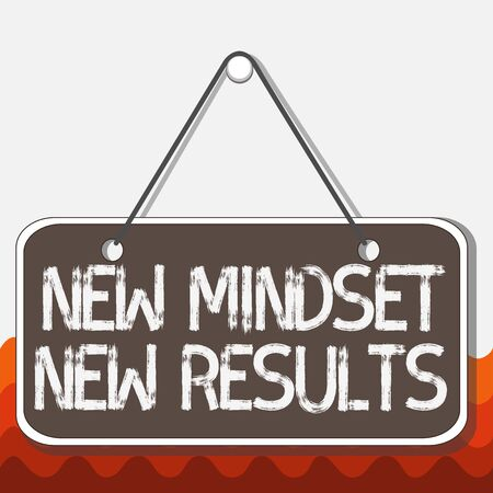 Conceptual hand writing showing New Mindset New Results. Concept meaning obstacles are opportunities to reach achievement Memo reminder empty board attached background rectangle 版權商用圖片