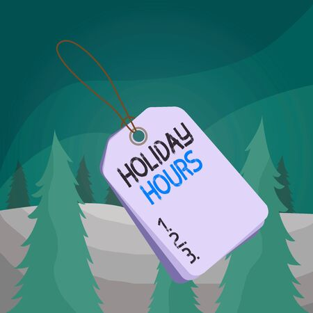 Word writing text Holiday Hours. Business photo showcasing employee receives twice their normal pay for all hours Label rectangle empty badge attached string colorful background tag small Stock Photo