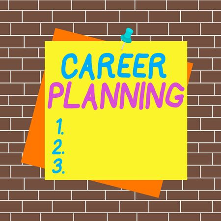 Text sign showing Career Planning. Business photo showcasing Strategically plan your career goals and work success Reminder color background thumbtack tack memo attached office pin square