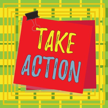 Text sign showing Take Action. Business photo showcasing to do somethingoract in order to get a particular result Paper stuck binder clip colorful background reminder memo office supply Stockfoto