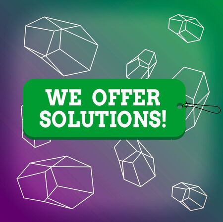 Word writing text We Offer Solutions. Business photo showcasing way to solve problem or deal with difficult situation Label tag badge rectangle shaped empty space string colorful background 写真素材