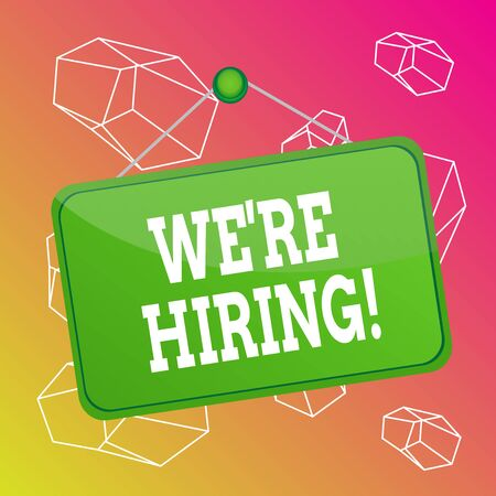 Word writing text We are Hiring. Business photo showcasing process of reviewing applications and finding candidates Colored memo reminder empty board blank space attach background rectangle 版權商用圖片