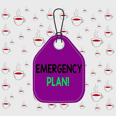Writing note showing Emergency Plan. Business concept for actions developed to mitigate damage of potential events Empty tag colorful background label rectangle attach string 版權商用圖片