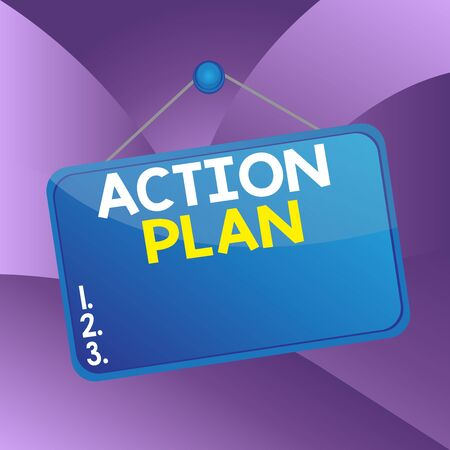 Handwriting text writing Action Plan. Conceptual photo detailed plan outlining actions needed to reach goals or vision Colored memo reminder empty board blank space attach background rectangle 版權商用圖片 - 143908319