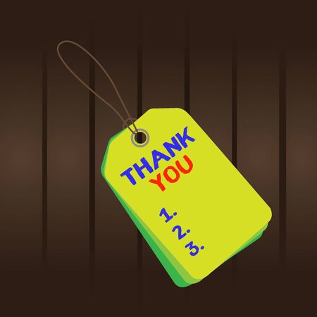 Writing note showing Thank You. Business concept for a polite expression used when acknowledging a gift or service Rectangle badge attached string colorful background with tag