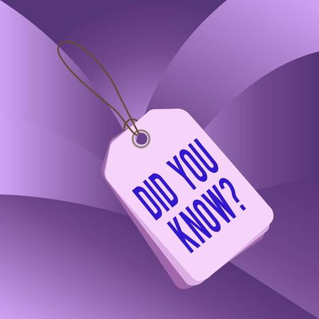 Handwriting text writing Did You Know Question. Conceptual photo when you are asking someone if they know fact or event Label rectangle empty badge attached string colorful background tag small