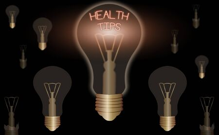 Handwriting text Health Tips. Conceptual photo advice or information given to be helpful in being healthy Stockfoto
