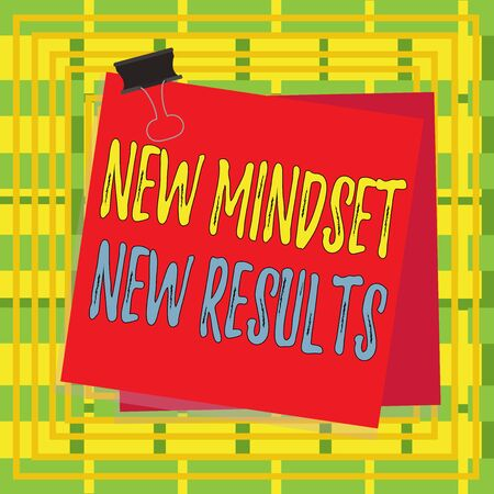 Text sign showing New Mindset New Results. Business photo showcasing obstacles are opportunities to reach achievement Paper stuck binder clip colorful background reminder memo office supply
